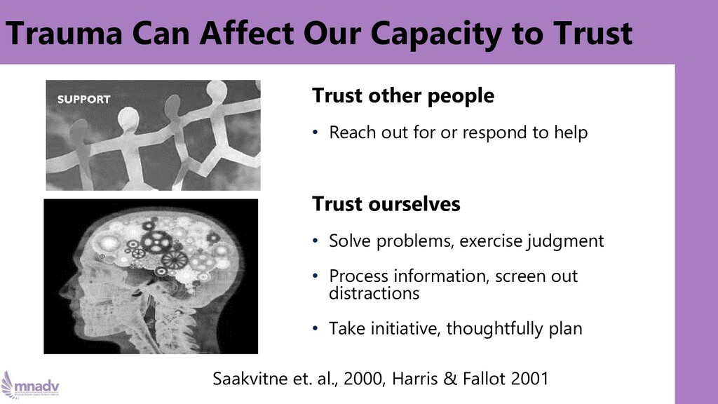 Trauma Can Affect Our Capacity to Trust Trust o...