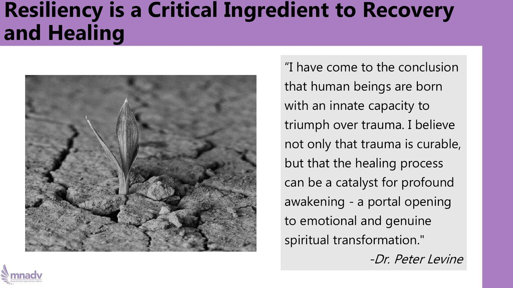 Resiliency is a Critical Ingredient to Recovery...