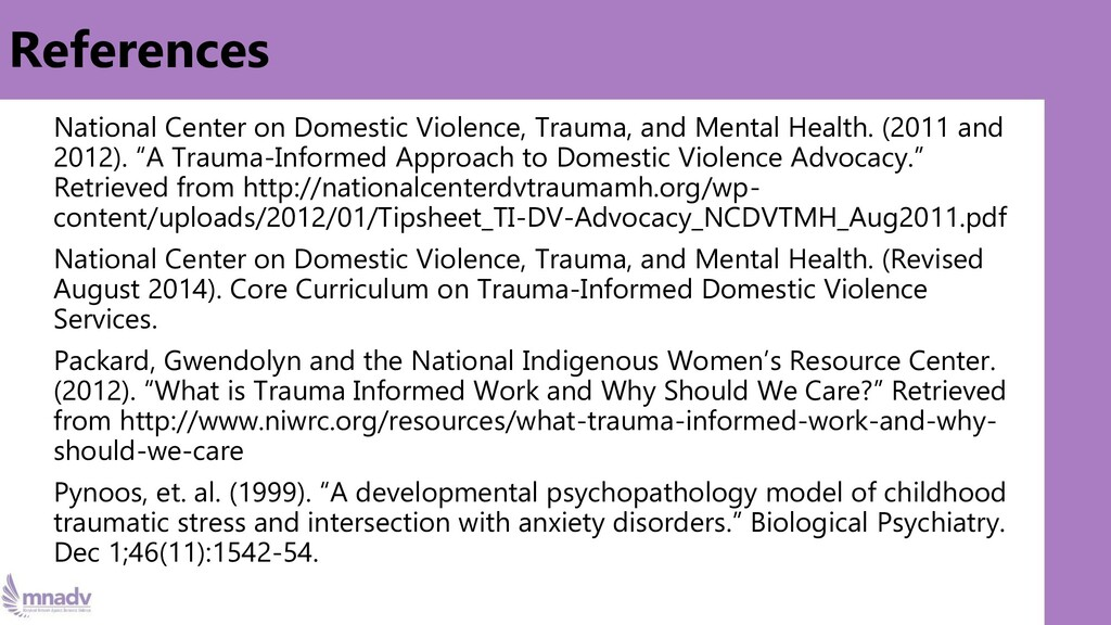 References National Center on Domestic Violence...