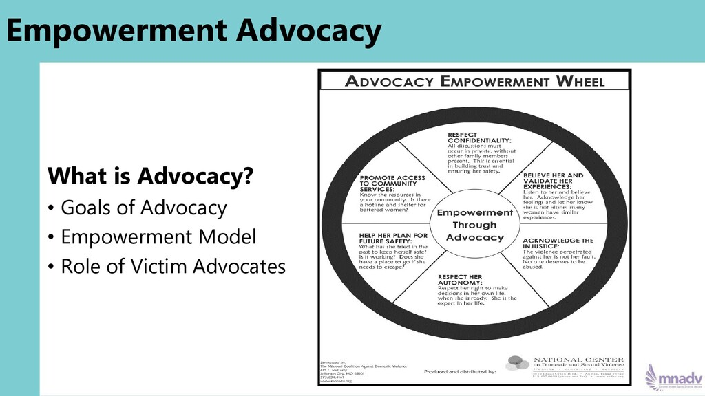 Empowerment Advocacy What is Advocacy? • Goals ...