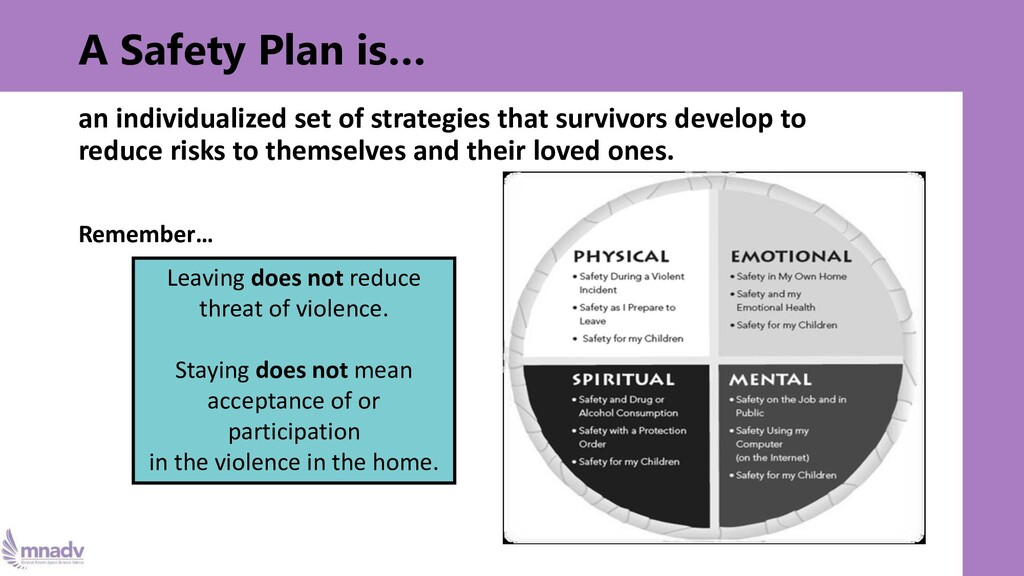 A Safety Plan is… an individualized set of stra...