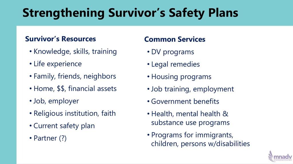 Strengthening Survivor's Safety Plans Survivor'...