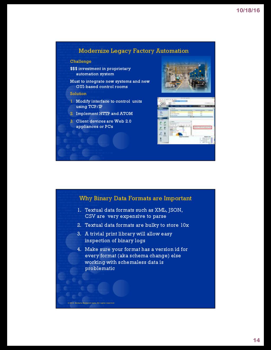 10/18/16 14 Modernize Legacy Factory Automation...