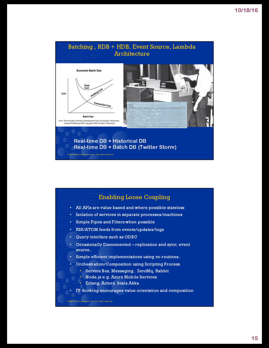 10/18/16 15 Batching , RDB + HDB, Event Source,...