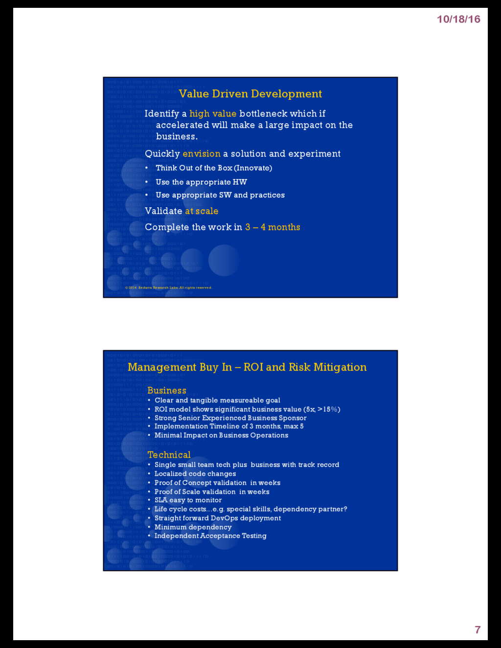 10/18/16 7 Value Driven Development Identify a ...
