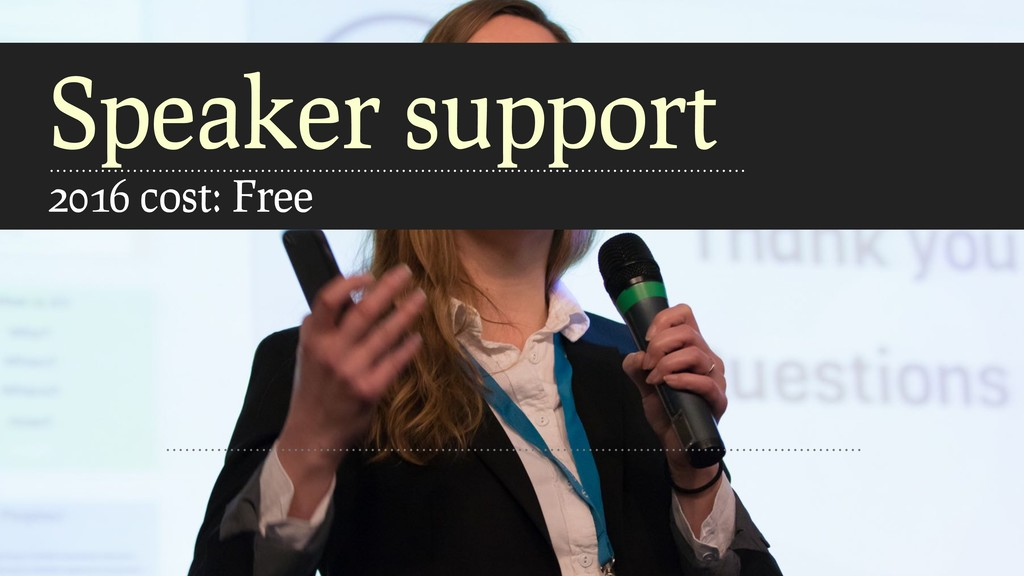 Speaker support 2016 cost: Free