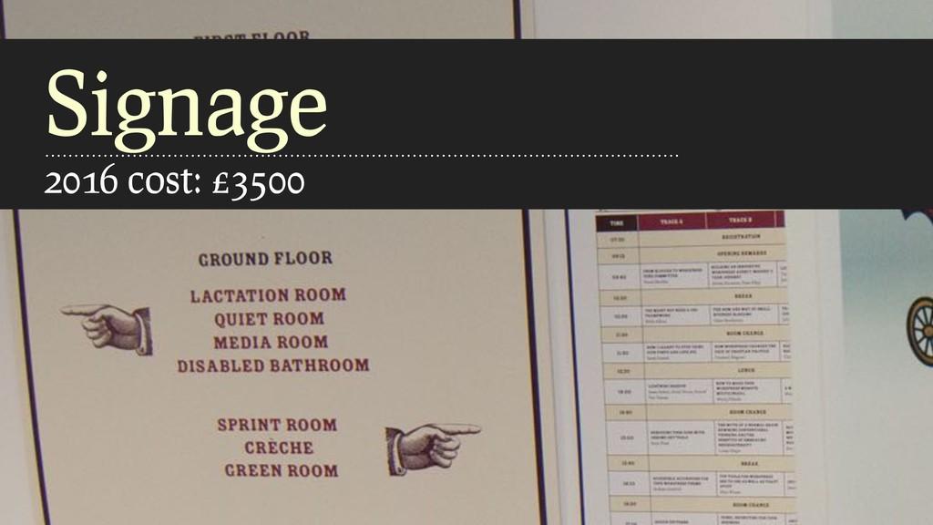 Signage 2016 cost: £3500
