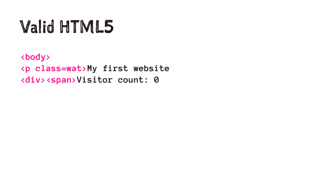 Valid HTML5 <body> <p class=wat>My first websit...