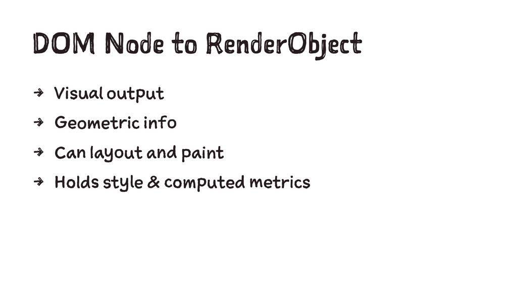 DOM Node to RenderObject 4 Visual output 4 Geom...