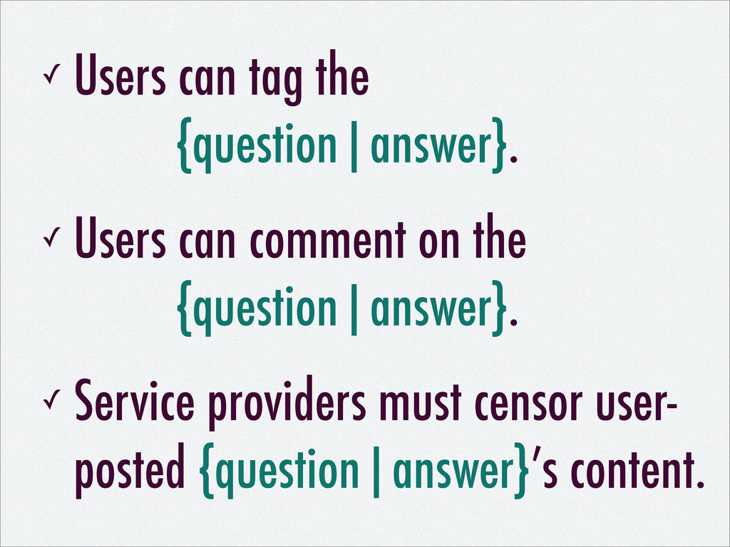 ✓ Users can tag the {question|answer}. ✓ Users ...
