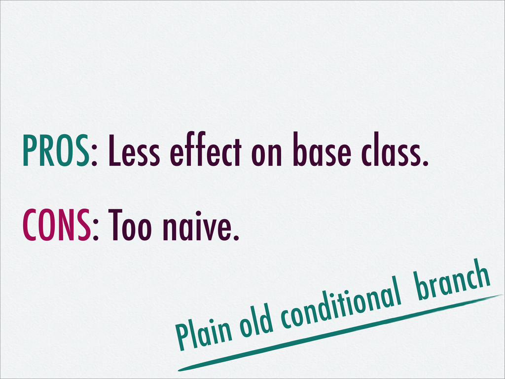 PROS: Less effect on base class. CONS: Too naiv...