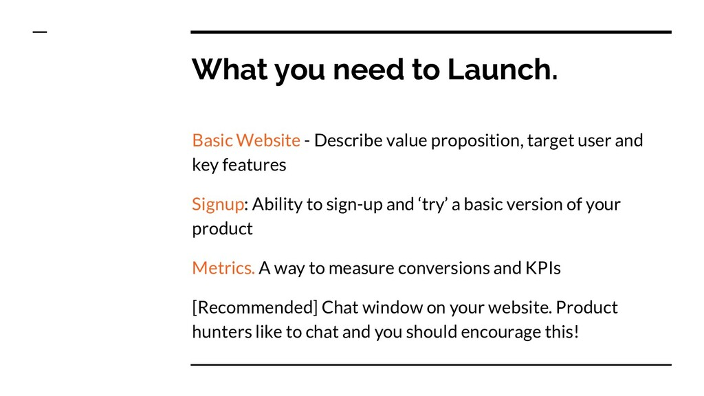 What you need to Launch. Basic Website - Descri...