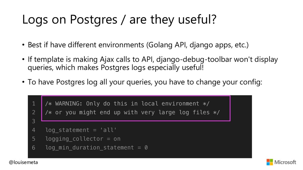 Logs on Postgres / are they useful? @louisemeta...