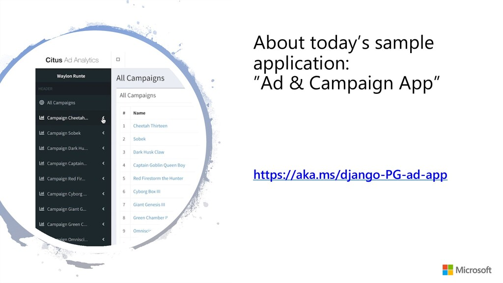 "About today's sample application: ""Ad & Campaig..."