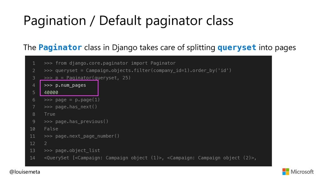 Pagination / Default paginator class @louisemet...