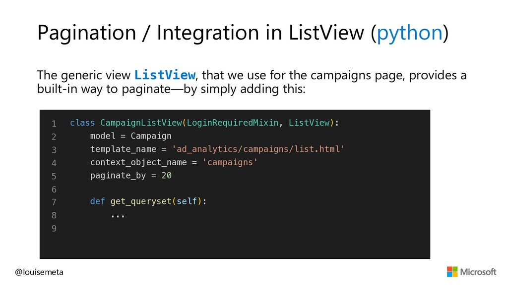 Pagination / Integration in ListView (python) T...