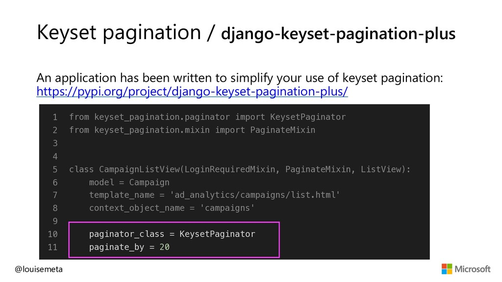 Keyset pagination / django-keyset-pagination-pl...