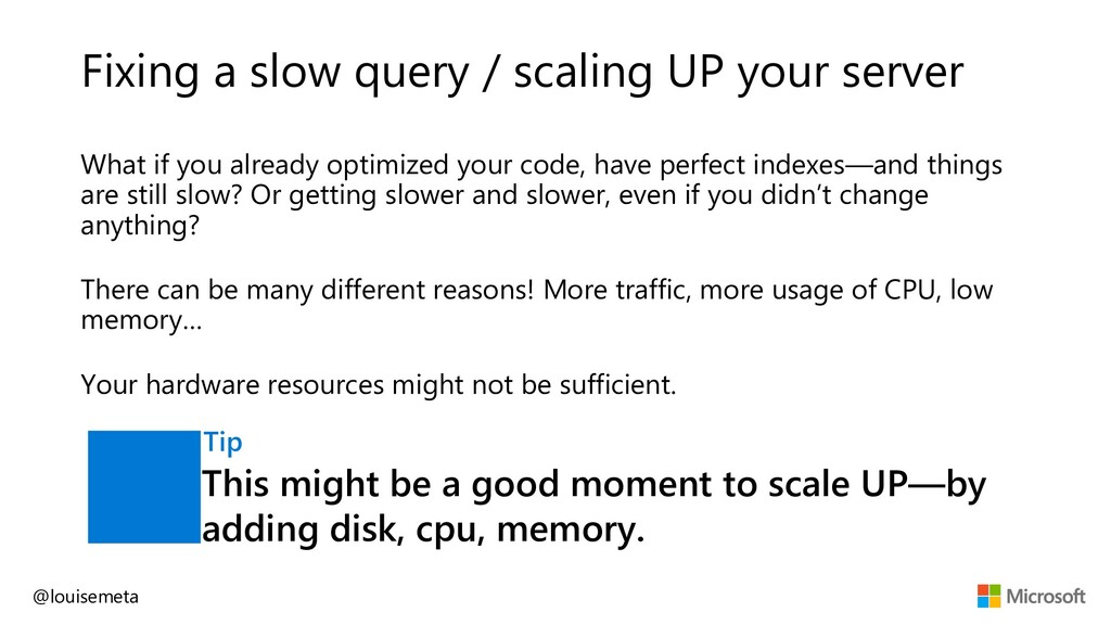 Fixing a slow query / scaling UP your server Wh...