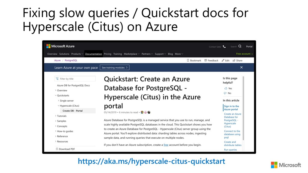 https://aka.ms/hyperscale-citus-quickstart Fixi...