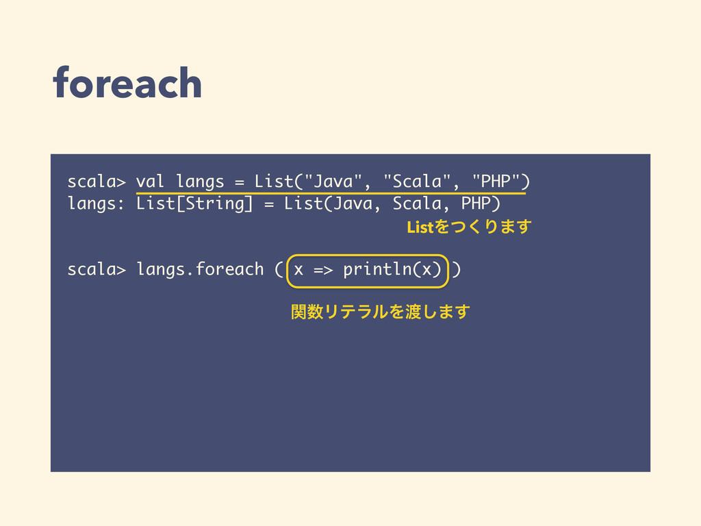 "foreach scala> val langs = List(""Java"", ""Scala""..."