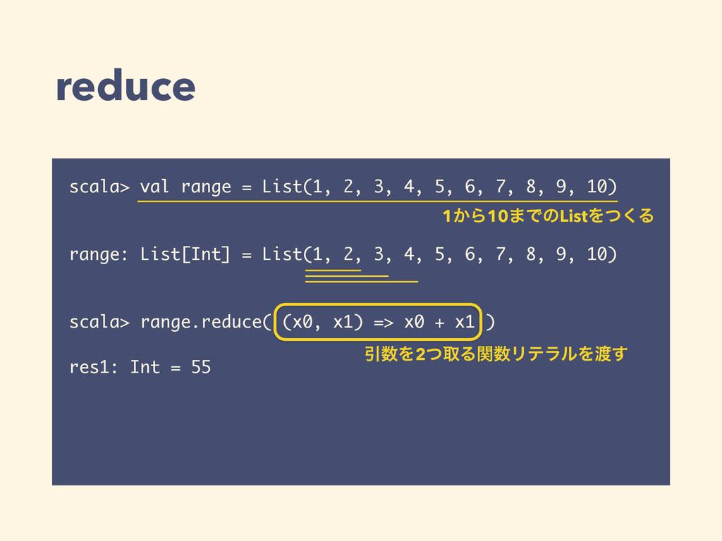 reduce scala> val range = List(1, 2, 3, 4, 5, 6...