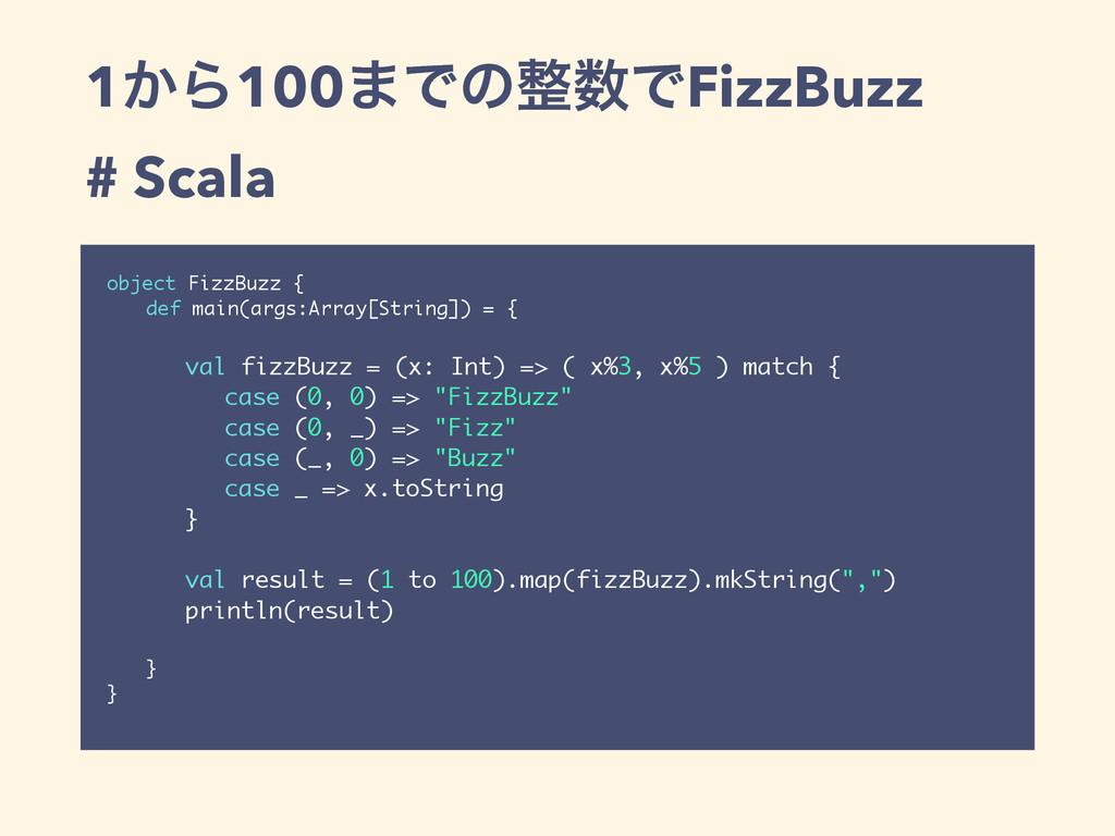 1͔Β100·ͰͷͰFizzBuzz # Scala object FizzBuzz { ...