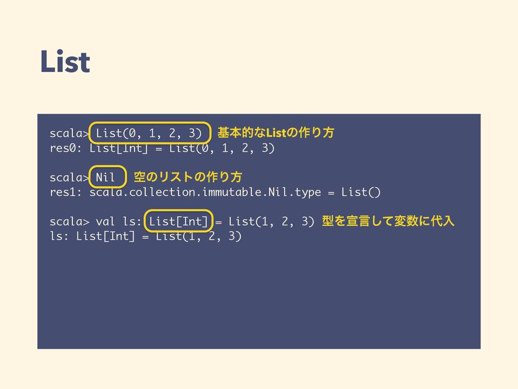 List scala> List(0, 1, 2, 3) res0: List[Int] = ...