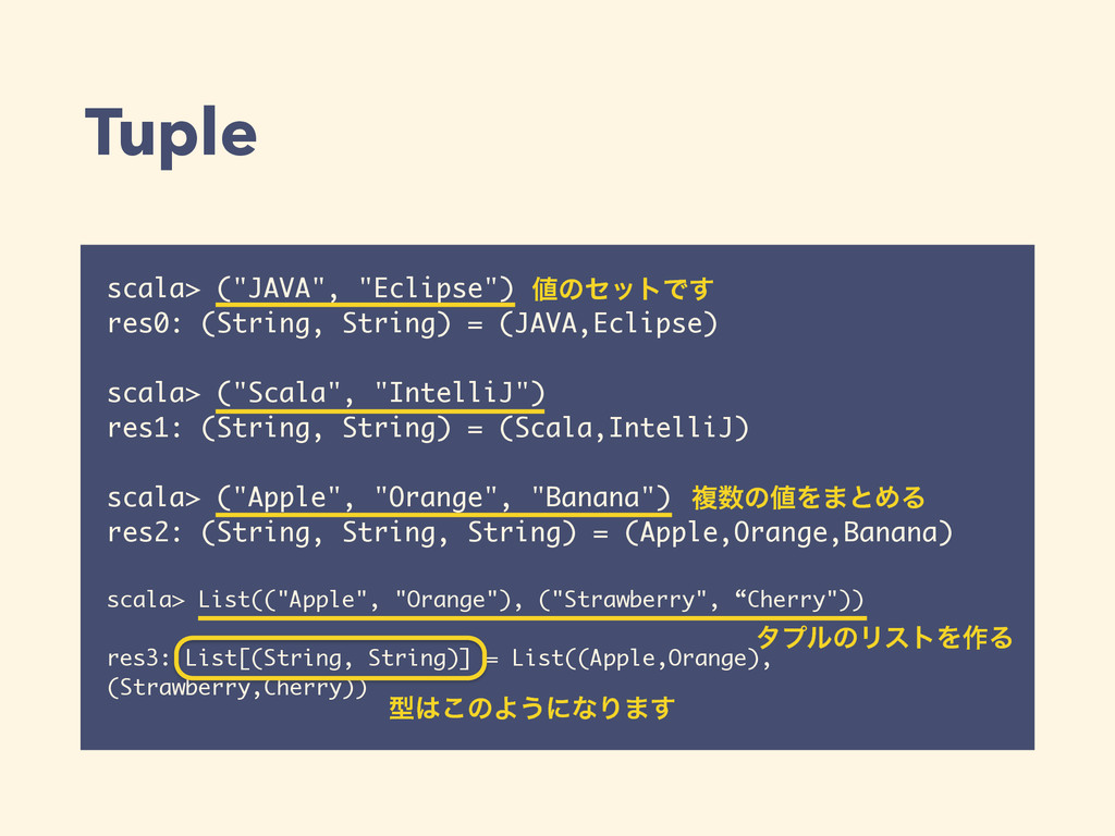 "Tuple scala> (""JAVA"", ""Eclipse"") res0: (String,..."