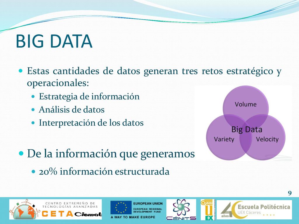  Estas cantidades de datos generan tres retos ...
