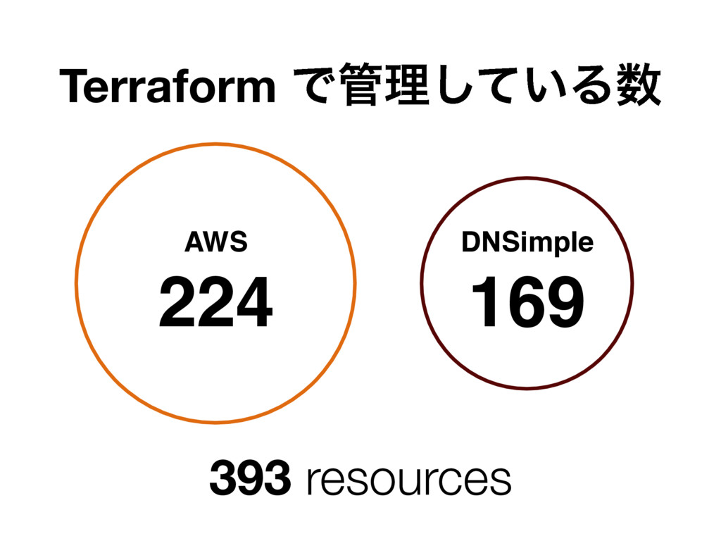 Terraform Ͱ؅ཧ͍ͯ͠Δ਺ AWS 224 DNSimple 169 393 res...