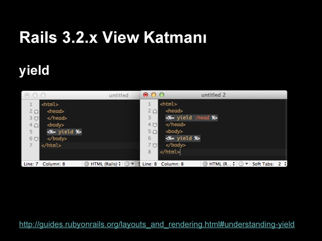 Rails 3.2.x View Katmanı yield http://guides.ru...