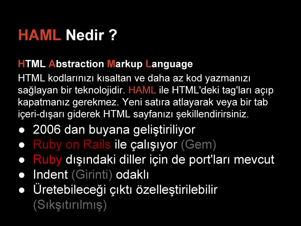 HAML Nedir ? HTML Abstraction Markup Language H...