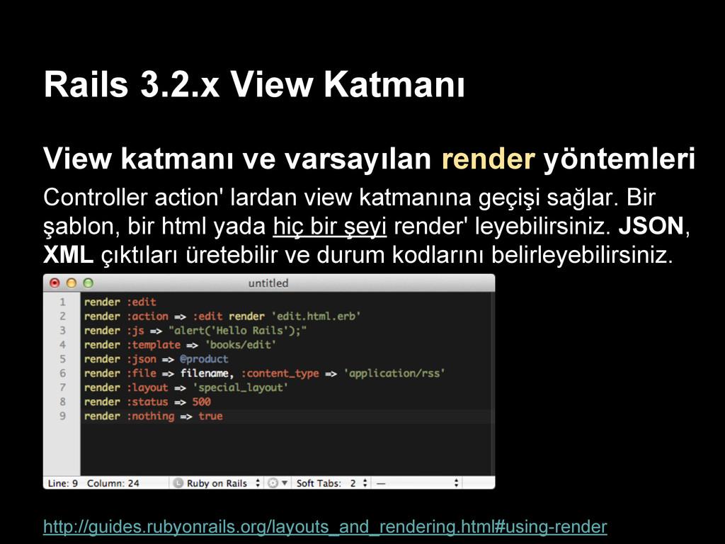 Rails 3.2.x View Katmanı View katmanı ve varsay...