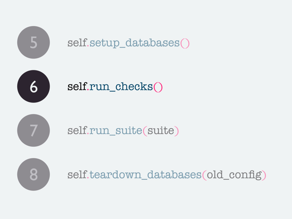 5 self.setup_databases() 7 self.run_suite(suite...