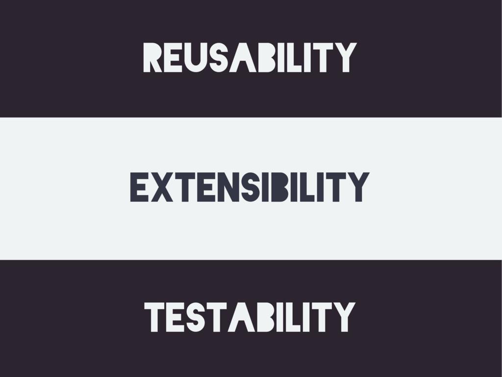 reusability testability extensibility