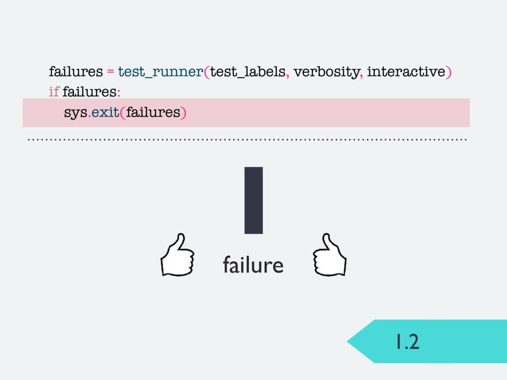 1.2 1 failure failures = test_runner(test_label...