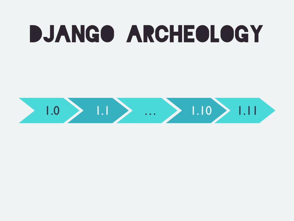 Django archeology 1.0 1.11 1.1 1.10 …