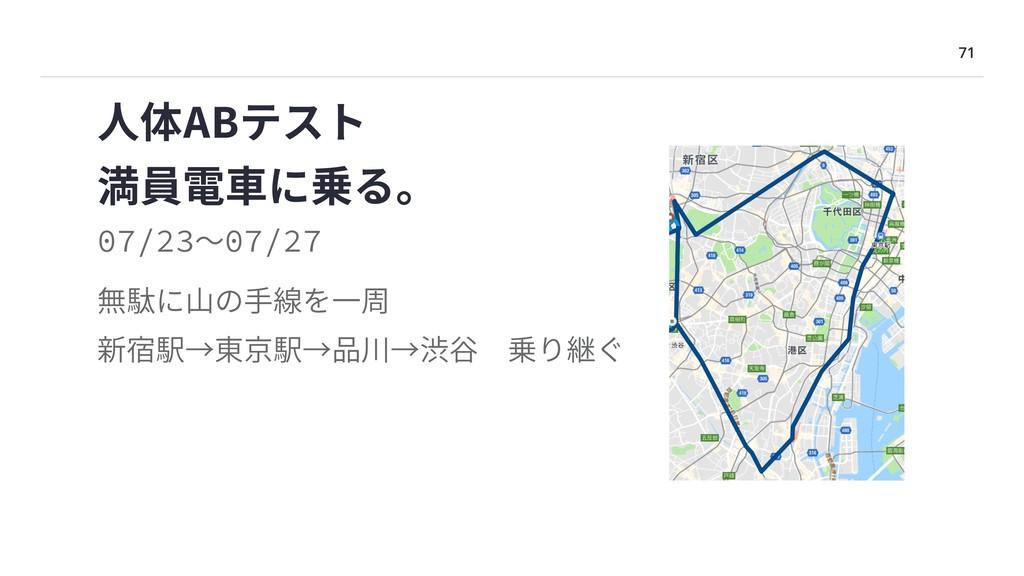 71 満員電⾞に乗る。 ⼈体ABテスト 無駄に⼭の⼿線を⼀周 新宿駅→東京駅→品川→渋⾕乗り...