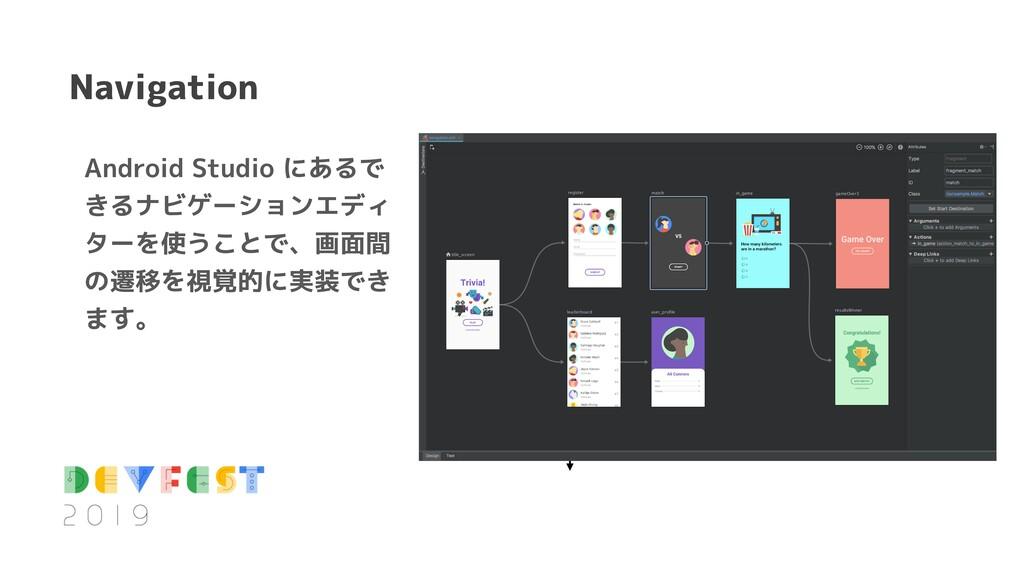 Navigation Android Studio にあるで きるナビゲーションエディ ターを...