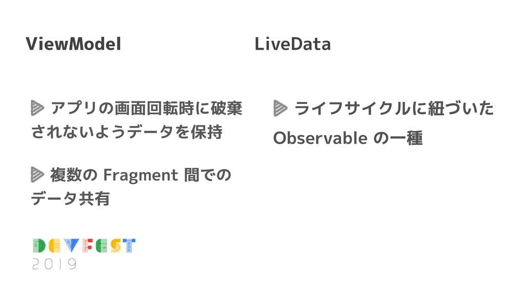アプリの画面回転時に破棄 されないようデータを保持 複数の Fragment 間での データ共...
