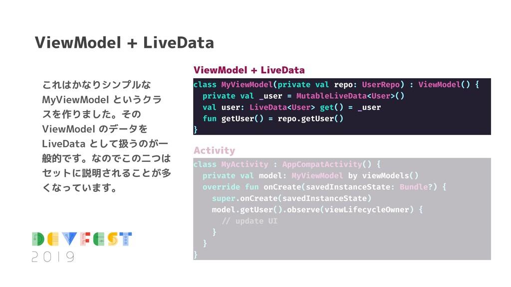 これはかなりシンプルな MyViewModel というクラ スを作りました。その ViewMo...