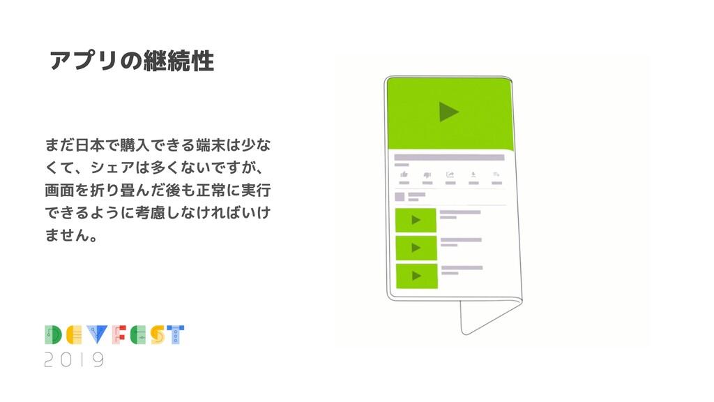 アプリの継続性 まだ日本で購入できる端末は少な くて、シェアは多くないですが、 画面を折り畳ん...