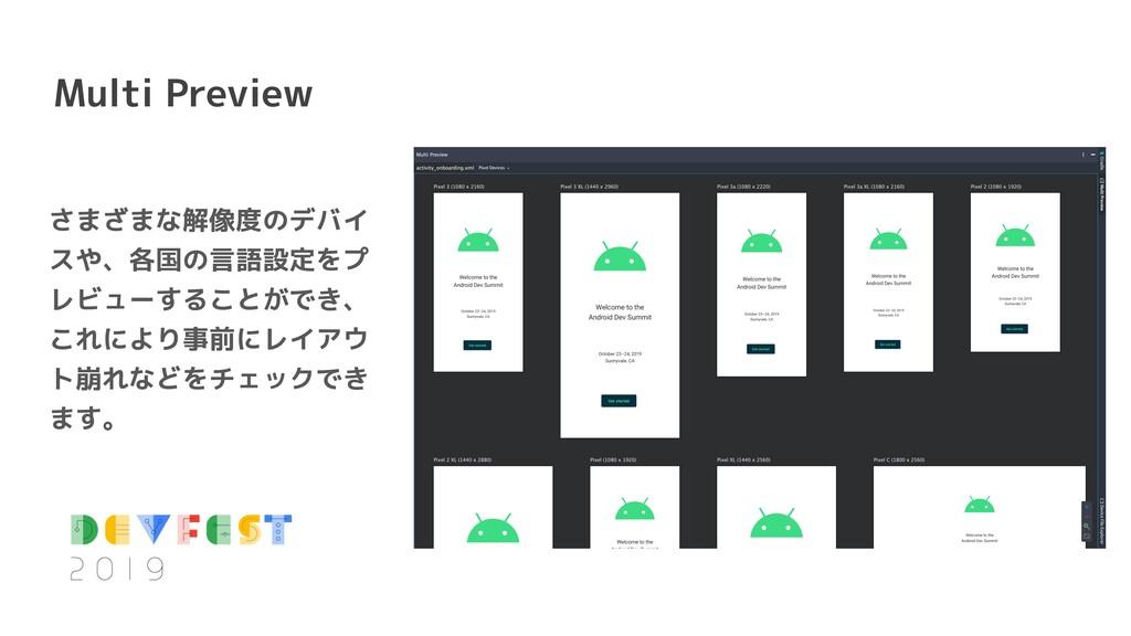Multi Preview さまざまな解像度のデバイ スや、各国の言語設定をプ レビューするこ...