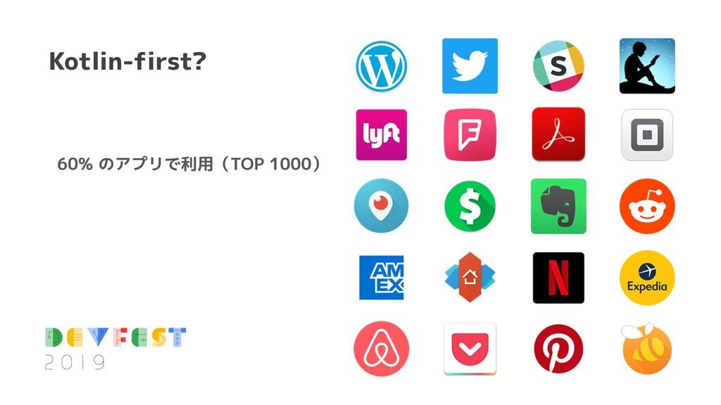 60% のアプリで利用(TOP 1000) Kotlin-first?