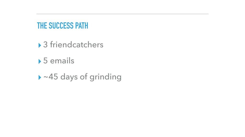 THE SUCCESS PATH ▸ 3 friendcatchers ▸ 5 emails ...