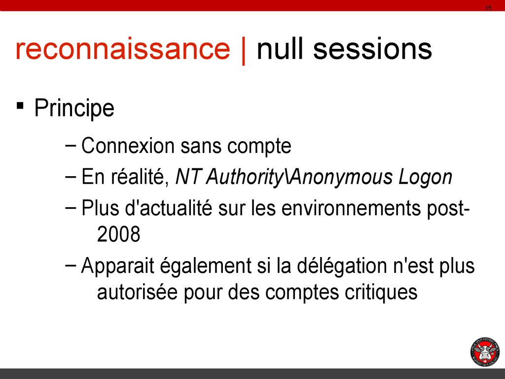 reconnaissance | null sessions § Principe – Con...