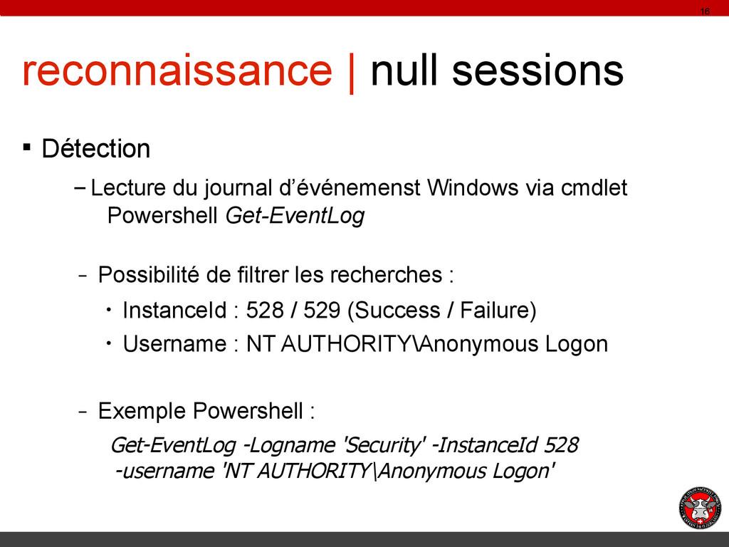 reconnaissance | null sessions § Détection – Le...