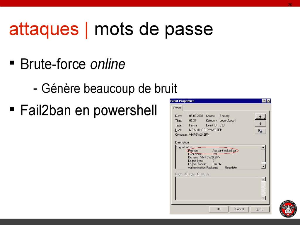 attaques | mots de passe § Brute-force online -...