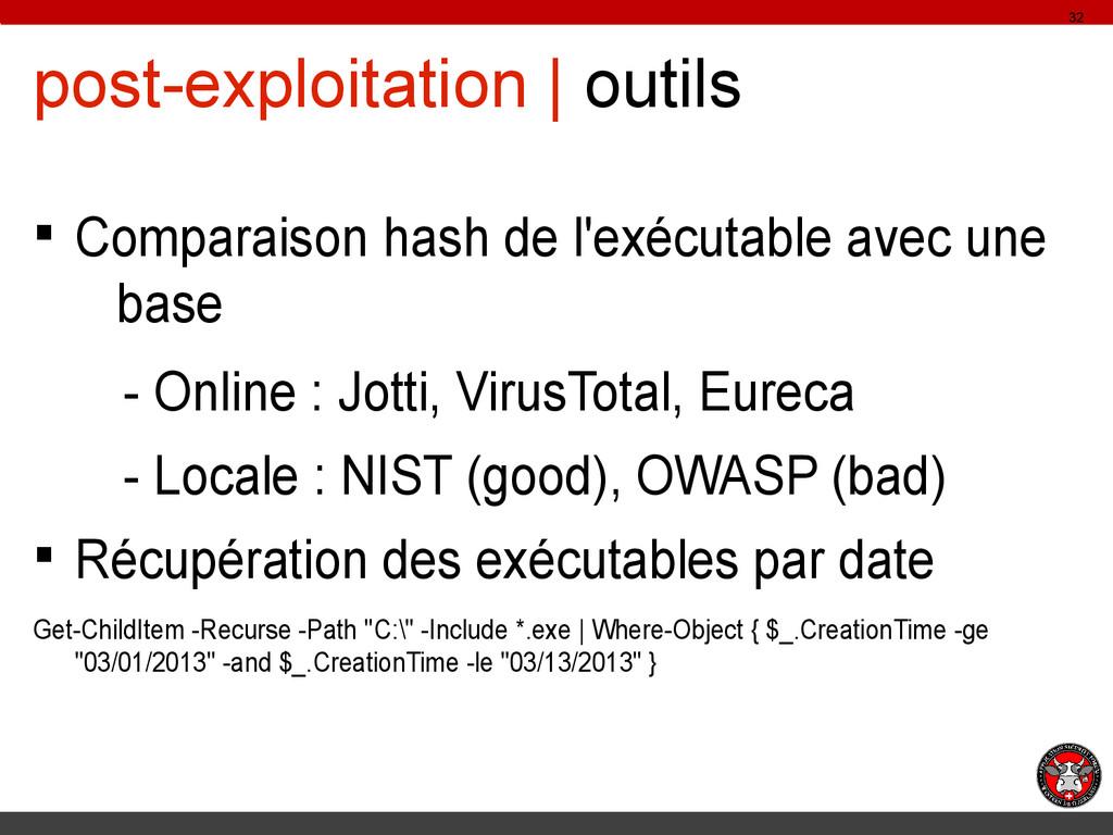 post-exploitation | outils § Comparaison hash d...