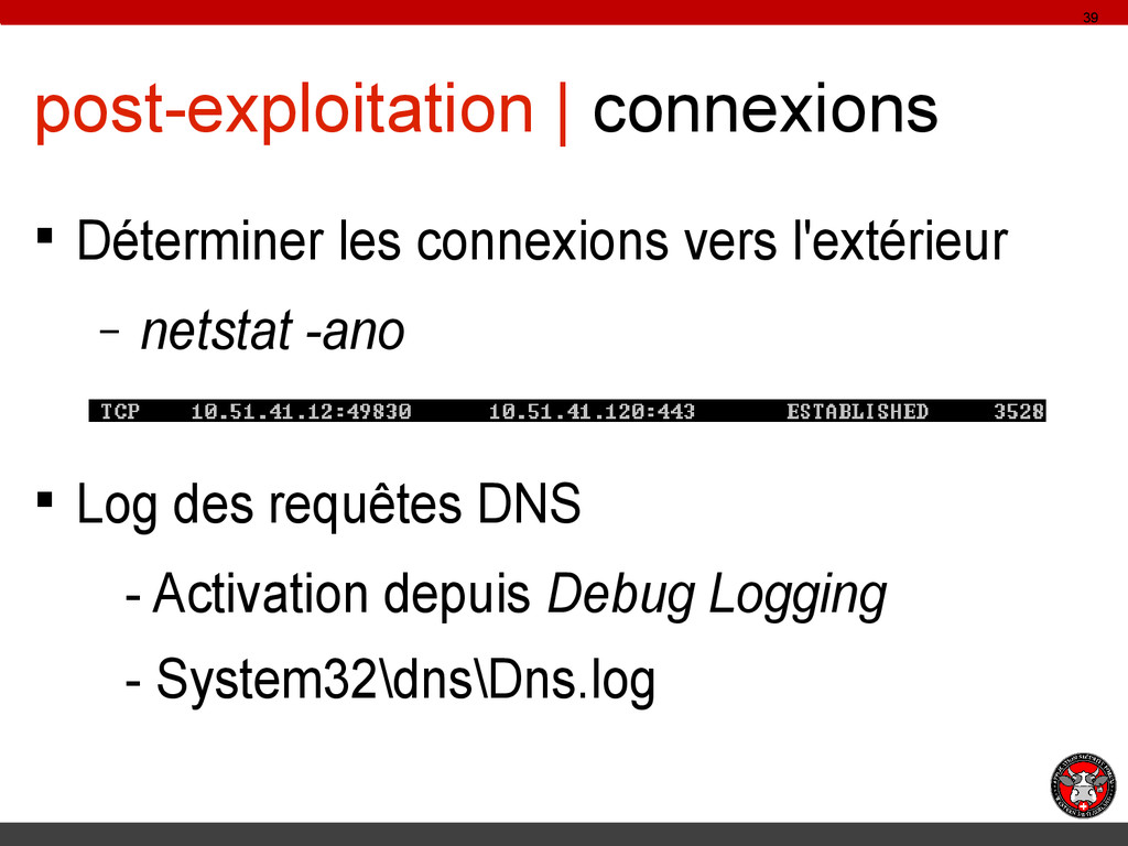 post-exploitation | connexions § Déterminer les...